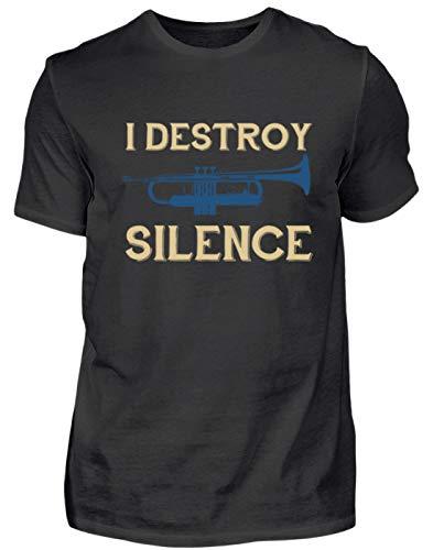 Shirtzshop - Camiseta para Hombre, diseño con Texto en alemán Ich Zerstöre Die Ruhe - Trompete Spieler Motiv Negro S
