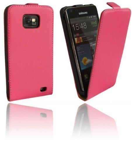 ENERGMiX Klapptasche Schutztasche kompatibel mit Samsung Galaxy S2 i9100 in Pink Tasche Hülle