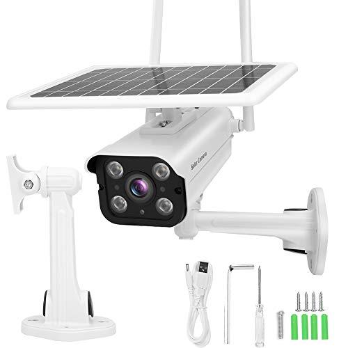 Cámara de visión Nocturna a Prueba de Agua IP66, Panel Solar de 7 W con Soporte Cámara de visión Nocturna a Todo Color 1920x1080 1080P, detección de Movimiento Humano para la Tienda de