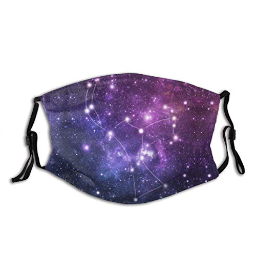 The Stars Constellation of Orion Zodiac Constellation Galaxy Sign Print Fashion Sport for Work School Sun Uv Protection Balaclava Face Mask Mouth Protection Cotton with 2 Filters