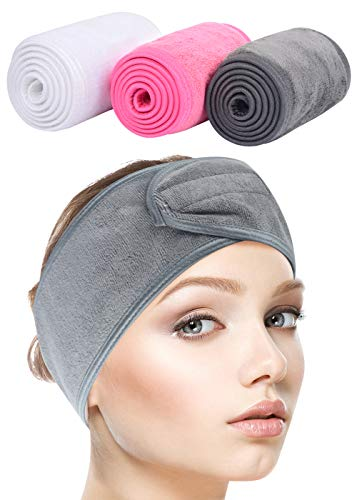 Sinland Spa Headband for Women 3 Counts Adjustable Makeup Hair Band with Magic Tape ,Head Wrap for Face Care, Makeup and Sports