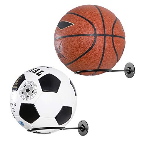 VORCOOL Sportball Halter Metall Wand Montierter Wandhalterung Sport Ball Rack für Basketbälle Fußball Football Volleyball Übungsball Medizinball Schwarz 2 Stück