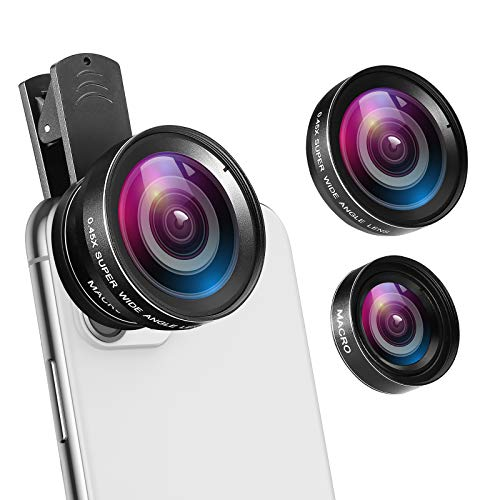 AMIR Universal Professional HD Camera Lens Kit, 0.45X Super Wide Angle Lens + 12.5X Macro Lens, Clip-On Cell Phone Lens for iPhone 8, 7, 6s / 6 Plus / 5s, Samsung Galaxy & Most Smartphones