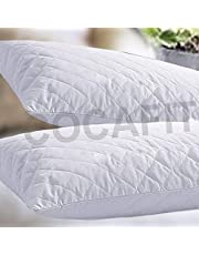 cocfit Polyester Hypoallergenic Pillow Protector Cover (White) Pack of -2