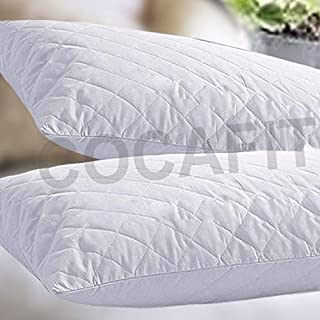 Happy Home Products 2nd Gen Pillow Protector Quilt Cover with hi Flipper Hypoallergenic 100% Cotton Satin Colour White Colour White Size (18 x 27) (4)