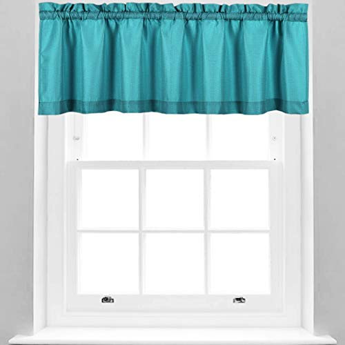 Valea Home Water Repellent Valance for Bathroom Window Waffle Woven Textured Short Kitchen Curtain Valances, Turquoise, 60 x16 inches, 1 Panel