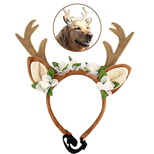 RC GearPro Haustier Kostüm Geweih Stirnbänder Weihnachten Geweih Kopfschmuck Gummiband Design Hunde Katzen Geweih Stirnband (S)