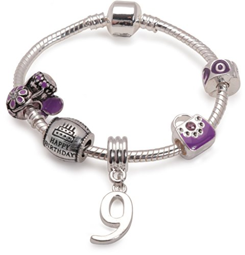 Bling Rocks Liberty Charms Children's Purple Happy 9th Birthday Silver Plated Charm Bead Bracelet Girls Birthday Gift/Present Stocking Filler. with Gift Box & Velvet Pouch. (Other