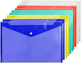 Poly Envelope Folder A4 with Snap Button Closure, 10 Packs,Premium Quality Plastic Envelopes,Waterproof Transparent Projec...