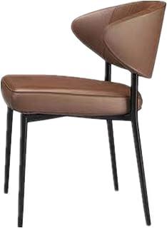 QFWM Sillas de Comedor Cafe Silla de Comedor Sala de Respaldo Moderna Silla de Comedor Sala de Estar y Comedor Cocina Comedor Muebles (Color : Brown, Size : 56x62x77cm)