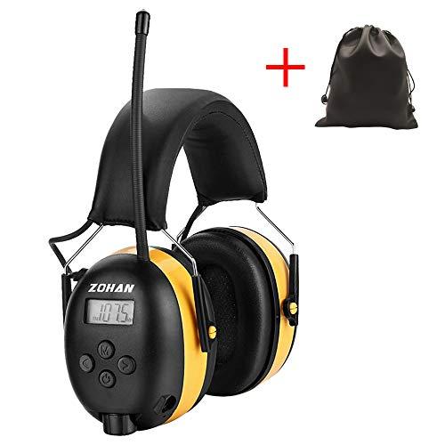 Zohan SNR 31 dB MEHRWEG Gehoorbescherming met FM/AM, MP3-compatibel ruisonderdrukking, voor industrie, bouw en maaien geel