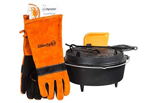 Feuertopf Starterset ft6 (Dutch Oven mit Standfüssen) inkl. Handschuhe + Deckelheber + Schaber