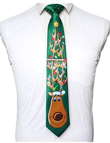 JEMYGINS Weihnachts-Krawatten für Herren Neuheit Urlaub bedruckte Krawatte und Krawattenklammer-Sets - - Allgemeines