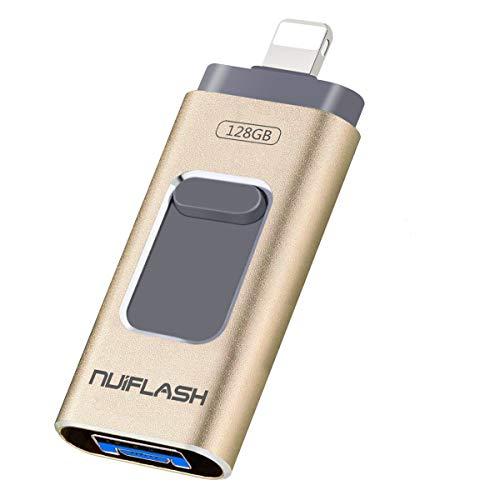 Niuflash - Memoria USB de 128 GB para PC, iPhone, Android, 3 en 1, mini USB 3.0, extensión de memoria, unidad flash para iOS, iPad, iPod, OTG, Android, teléfono móvil, ordenador portátil