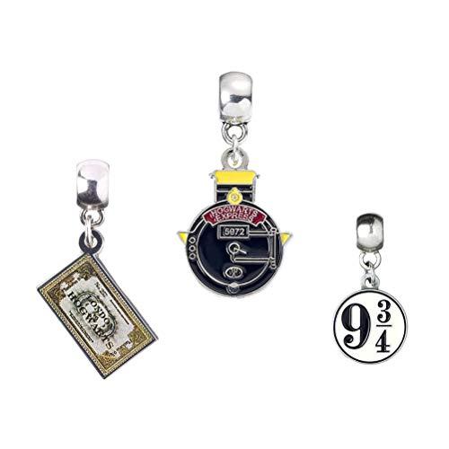 Set di 3 charm, placcati in argento, motivo Harry Potter: Grifondoro, Tassorosso, Corvonero, Serpeverde