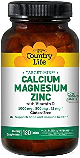 Country Life Target-Mins Calcium Magnesium Zinc w/Vitamin D 1000mg/500mg/25mg - 180 Tablets - Supports Bone & Immune