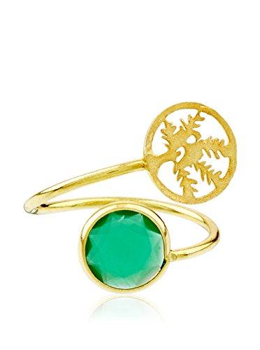 Córdoba Jewels   Sortija en Plata de Ley 925 bañado en Oro con diseño Tú y Yo Árbol de la Vida Esmeralda