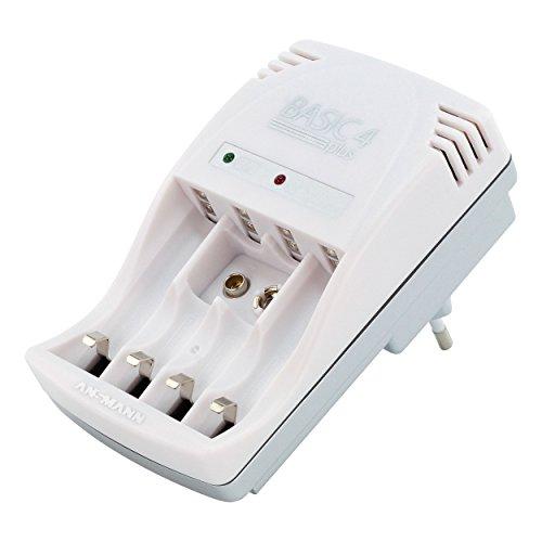 ANSMANN Steckerladegerät Basic 4 Plus / Ladegerät Akku für Micro AAA, Mignon AA & 9V Akkus / Dauerladegerät mit LED-Anzeige & automatischer Ladestromanpassung