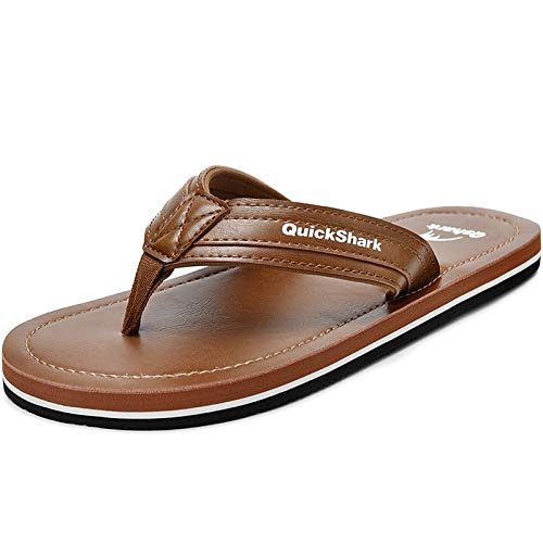 Quickshark Mens Flip Flops Leather Thong Sandals Arch Support Beach Slippers Tan Size 11