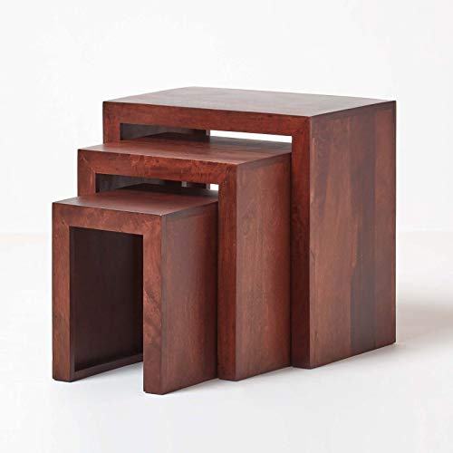 HOMESCAPES Nest of 3 Tables Dark Wood Dakota Handcrafted Living Room Furniture Side Tables (No Veneer) 46 x 30 x 46 cm