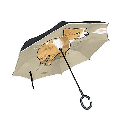 Cute Corgi Dog Butt Double Layer seitenverkehrt Regenschirm Cars Rückseite Regenschirm Wasserdicht Winddicht groß Gerade Polyester Regenschirm für Sonne und Regen Outdoor mit C-förmigem Henkel