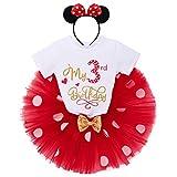 IBTOM CASTLE Conjunto de 3 piezas de ropa para bebé o niña, de manga corta, de algodón, con lunares de princesa, tutú y Minnie Mouse, diadema Rot-my 3rd Birthday 3 Años