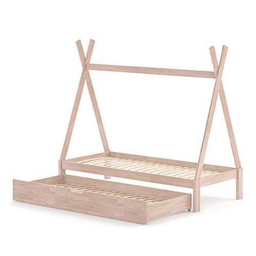 VitaliSpa Kinderbett Tipi Hausbett weiß Bett Kinderhaus Holz 90x200cm Als Umbauvariante Höhenverstellbar (Natur, Bett mit Bettschublade)