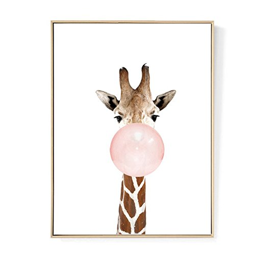 TOOGOO Kawaii Animal Jirafa Poster de Impresion de Arte Pintura de Lona nordica Cuadro de Pared Decoracion de habitacion (sin Marco) 30cm * 40cm