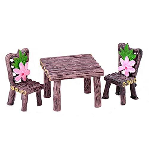 laoonl - Mesa de resina artesanal, micro, jardín de hadas, miniatura, resina artesanal, terrario, figura micro paisaje, decoración de la casa