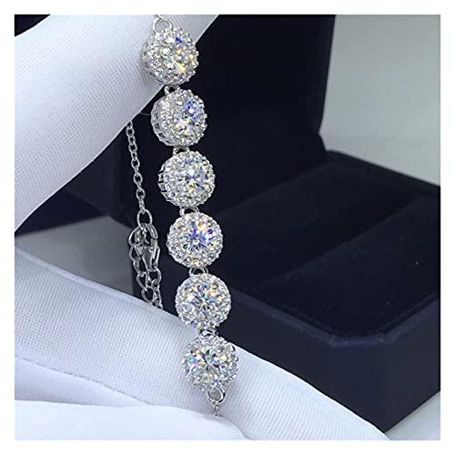 FKKLGNBDR Pulsera 18k Blanco Chapado en Oro 3 Diamante Redondo excelente Color D Color Brillante Pulsera Cadena para Las Mujeres Pulseras de Mujer