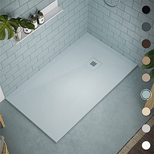 Shower Tray 800 x 1700 Stone Resin Allier - Anti Slip and Low Profile - Matte Finish and Smooth Texture - All Sizes Available - Shower Waste and Painted Grid Included - Grey NCS S 1510 B