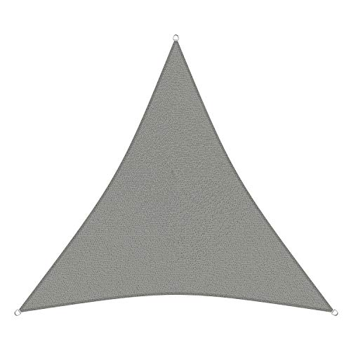 sunprotect 83227 Professional Sonnensegel, 5 x 5 x 5 m, Dreieck, Wind- & wasserdurchlässig, grausilber