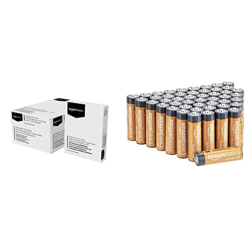 Amazon Basics Multipurpose Copy Printer Paper - White, 8.5 x 11 Inches, 8 Ream Case (4,000 Sheets) & 48 Pack AA High-Performance Alkaline Batteries, 10-Year Shelf Life, Easy to Open Value Pack