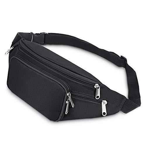 Savfy - Marsupio sportivo, comparti con chiusura a zip e cintura regolabile, per attività all'aria aperta