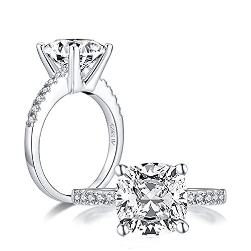 3CT Cushion Shape Creation Diamond Ring,Center 10mm CZ Cubic Zirconia Ring,925 Sterling Silver Silver Cushion Cut Engagement Rings for Women, Wedding, (4,Silver)