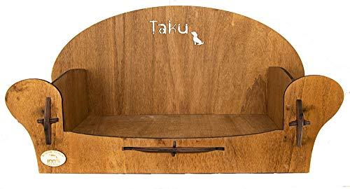Taku Tk04Pls Lettini per Cani Poltrona in Legno Misura Piccola Base Interna Cm 32 X Cm 55 Colore Legno Scuro, S, Legno Scuro