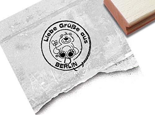 Stempel Poststempel Liebe Grüße aus Berlin mit Bär - Textstempel rund Hauptstadt Reisen Grußkarten Gutschein Scrapbook Fotobuch Deko - zAcheR-fineT