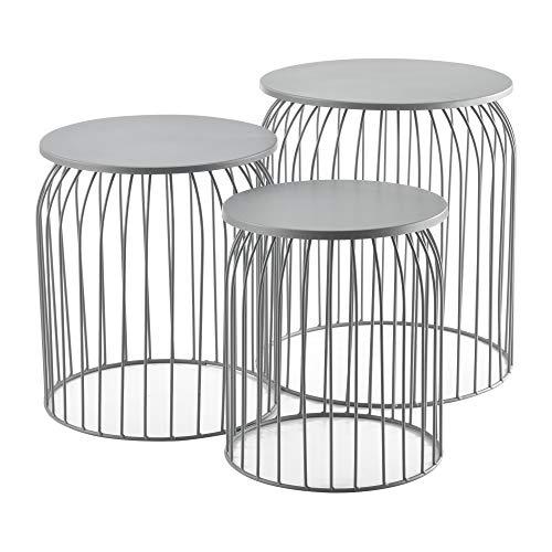 [en.casa] Set de 3X Cestas de Metal Mesa Baja Mesa Auxiliar para Almacenar Mesas de té y café Mesas de Centro Gris Claro