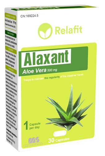 Alaxant Aloe Vera 500 mg – 30 Cápsulas | Relafit - Laboratorios MS | Dosis 1 Mes | Aloe Vera Puro | Tratamiento eficaz contra el estreñimiento y acelera la digestión