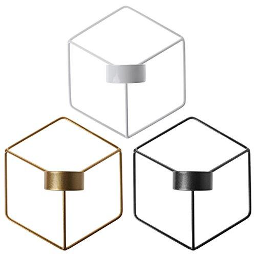 Manyo Wand-Kerzenhalter, Schmiedeeisen, nordischer Stil, 3D, geometrisch, Kerzenständer, Dekoration für Zuhause (weiß)