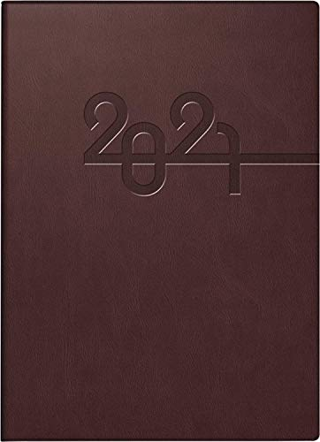 Brunnen 1073168011 Taschenkalender Modell 731, 2 Seiten = 1 Woche, 10 x 14 cm, Kunstleder-Einband braun, Kalendarium 2021