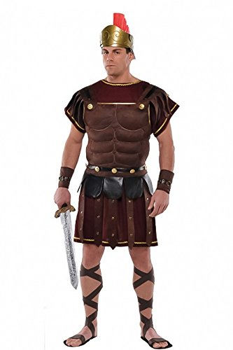 shoperama Römer Herren-Kostüm Roman Soldier Brustpanzer Armstulpen Rüstung römischer Soldat Legionär Krieger Karneval Verkleidung, Größe:M/L