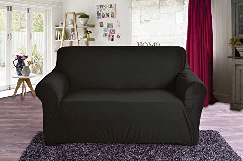 Elegant Comfort Jersey Luxury Featuring Super Soft Pet Dog Furniture Protector Fitted Couch Slipcover, Love Seat, Black