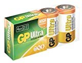 GP Batteries Ultra Alkaline D Batteries Pack of 4| Superb operating time |