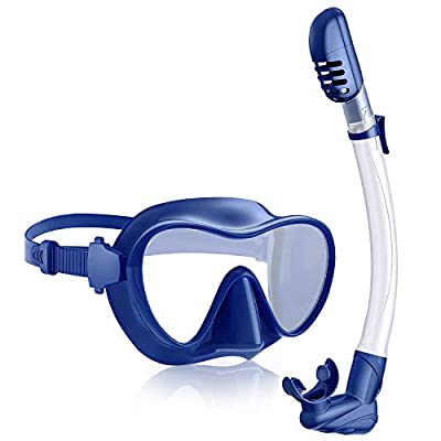 Rodicoco Snorkel Set Adult, Free Breathing and Leak-Proof Snorkel and Mask with Panoramic Wide View Snorkel Goggle, Anti-Fog HD Tempered Glass Dive Gear Mask for Swimming Scuba Diving Snorkeling