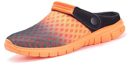 Sandalias de Playa Hombre Mujer,Zuecos de Sanitarios Zapatillas Ligeros Respirable Zapatos Verano,Naranja 47