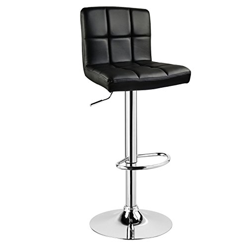 WOLTU® 1 x Barhocker Barstuhl Tresenhocker Stuhl drehbar und höhenverstellbar Tresen Hocker Kunstleder Schwarz 9107-1