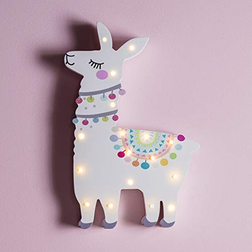 Lights4fun 17er LED Lama Kinderzimmer Nachtlicht warmweiß Timer Batteriebetrieb 30cm