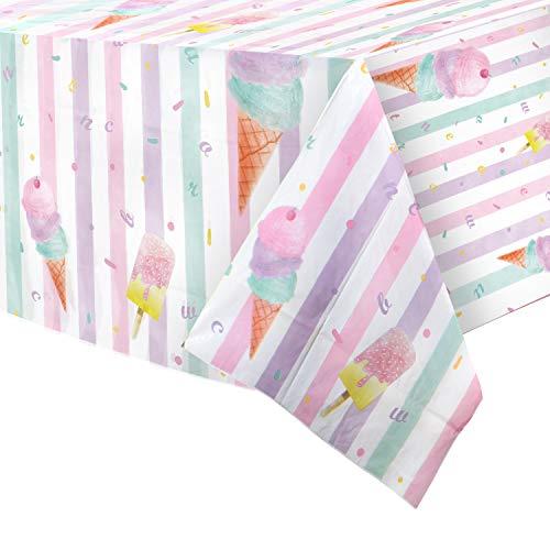 WERNNSAI Mantel de Helado - 4PCS 137 X 274 CM Manteles de Plástico Rectangular Desechable Suministros para Fiestas Temáticas de Helados y Paletas para Niños Niñas Cumpleaños Baby Shower Boda
