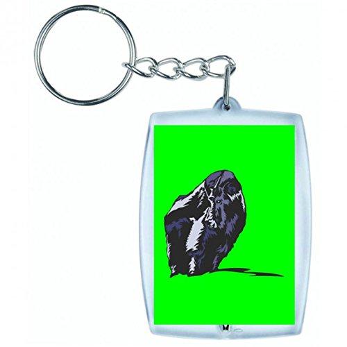 Druckerlebnis24 'Llavero para Vitrina Lado Bosque Animal Selva en Blanco y Negro de Color Azul de Rosa de Amarillo de Color Rojo de Verde | Keyring–Funda Colgante–Mochila Colgante–Llavero Verde